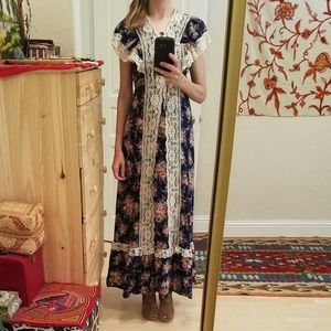 Vintage 70s Prairie Lace Trimmed Festival Dress S
